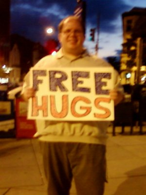 "Me with my ""FREE HUGS"" sign"