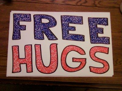 """Free Hugs"" sign"