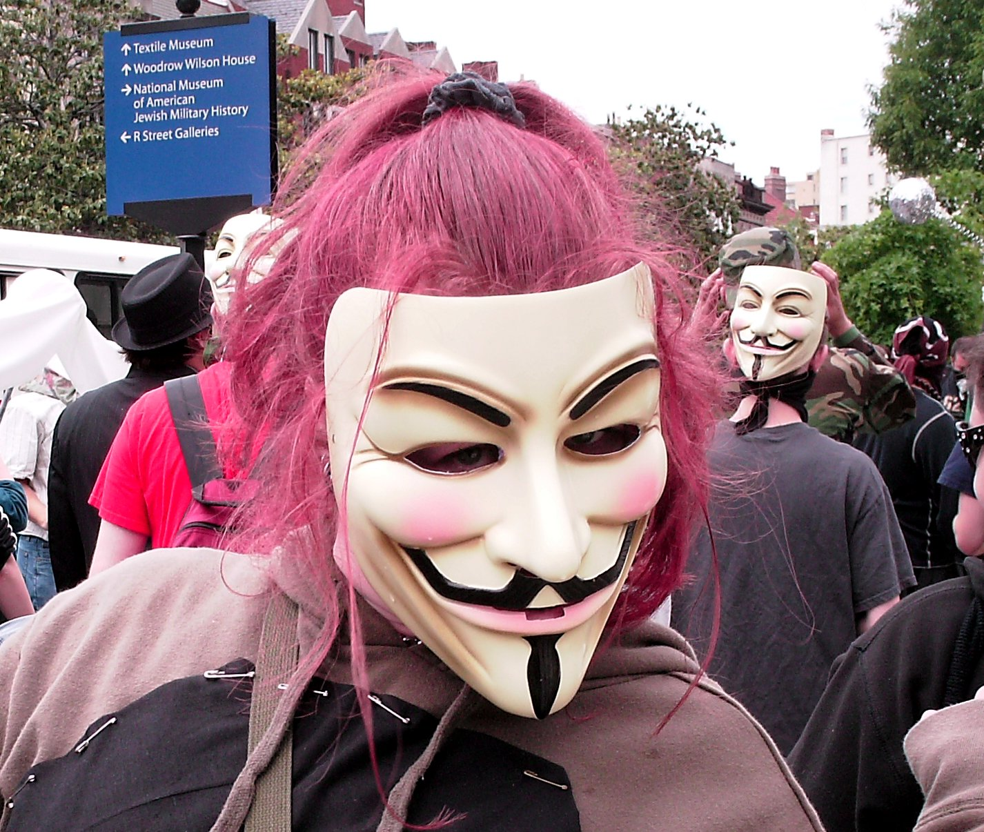 """... one of those """"V for Vendetta"""" Guy Fawkes masks. One of these"""