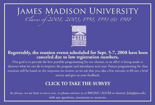 JMU reunions: Cancelled due to lack of interest