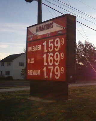Gas prices at Martin's in Waynesboro, November 23, 2008