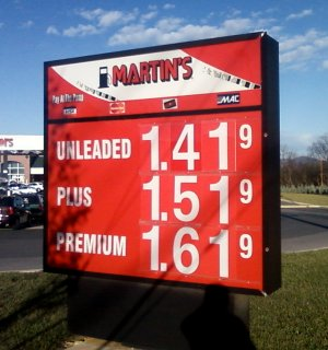 Gas prices at Martin's, November 26, 2008