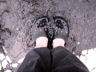 Standing in the spot where the water was coming up while wearing my Crocs was remarkably refreshing!