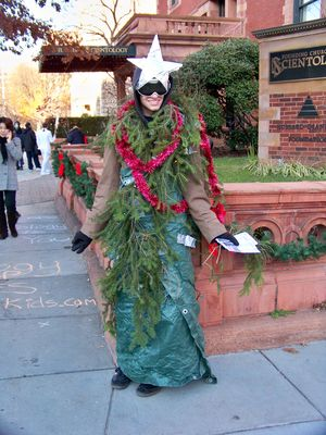 And of course, one Anon went as a Christmas tree, complete with branches, lights, and a star.