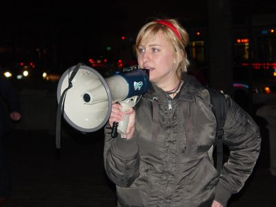 "Meghan from RCDC led the chants with a bullhorn, which included a few passages from the ""Hot In Here"" and ""Ugly"" cheers."