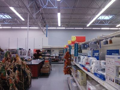 This is the gray color on the general merchandise side. Funny how history repeats itself, as Wal-Mart was painting itself gray on the inside throughout most of the 1990s, and it seemed to have nearly finished ridding itself of that awful color scheme. And now it brings the same color back.