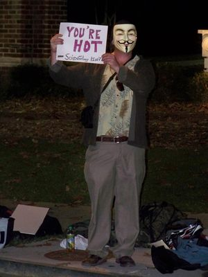 "This was one of the more lighthearted signs, saying, ""You're hot - Scientology isn't""."