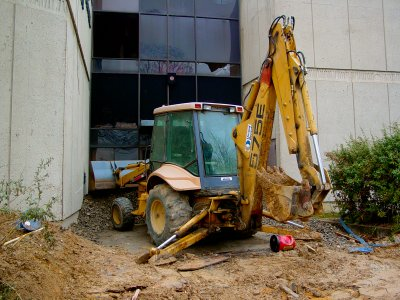 Heavy equipment at the Watha T. Daniel Library