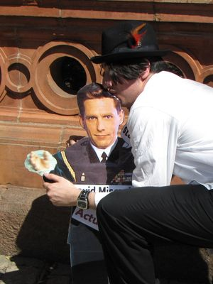 We also had fun with our David Miscavige cutout, making fun of Miscavige's height (left), and just general trolling with it (right).