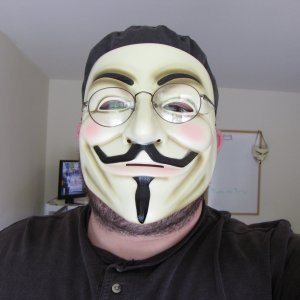 The final beard, with Guy Fawkes mask
