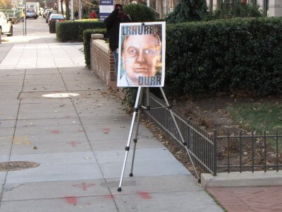 We also set up a tripod right at their entrance with an amusing illustration of L. Ron Hubbard.