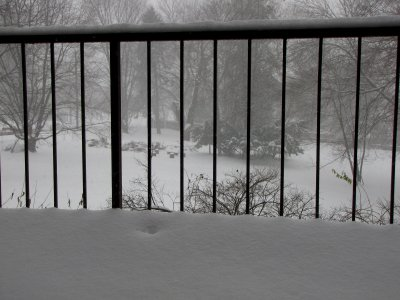My balcony, with quite a bit of snow on the end of it.