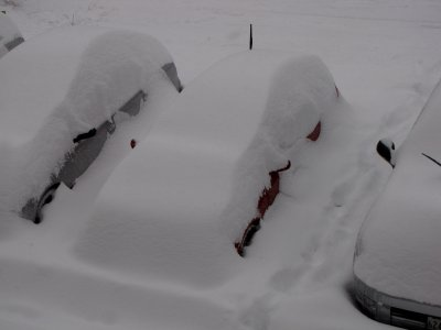 Here's another car, this one nearly completely buried in snow. All you can see is a few inches of red paint and the antenna!