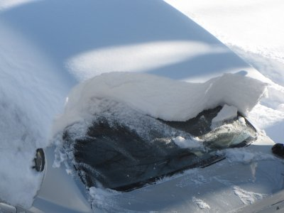Snow on the back of a car
