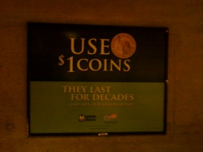 Dollar coin advertisement