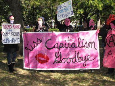 """Kiss Capitalism Goodbye"" banner"