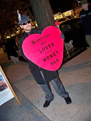 Beret and John McNonymous were out with awesome signs - one about self-love, and one about what Scientology really is in love with, that being your money.