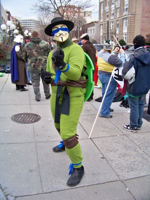 We had an Anon dressed as Leonardo (and yes, he could see out very well despite what it looks like).