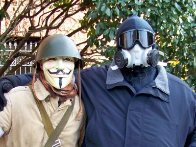 As you can see, as I pose with Anyman, I looked über-hardcore. A few Anons said that it looked like I was ready for the biohazard squad.