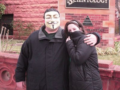 My coworker also showed up again, and struck an anonymous pose, while I smiled under my Guy Fawkes mask.