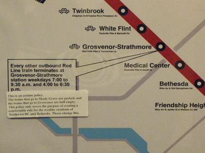 Sticker on the CAF 5031 map regarding Grosvenor turnbacks.
