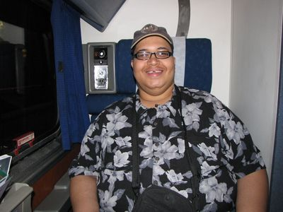 Matthew is all smiles in a Superliner Roomette seat.