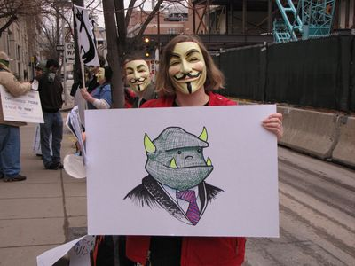 One of our signs carried an image of a troll, because basically, we were out trolling in Philadelphia...