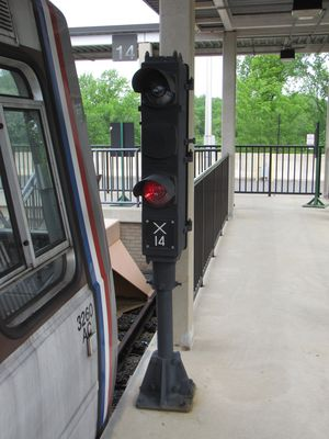 Yard signal at the end of the storage track. This signal is always red.