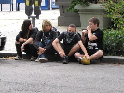 Much to my surprise, a group of teenagers, dressed in some sort of goth style, sat across 20th Street from our raid, and just watched. I invited them to come join us, but they stayed over there.