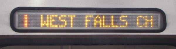Destination sign for short-turn trains (Alstom).