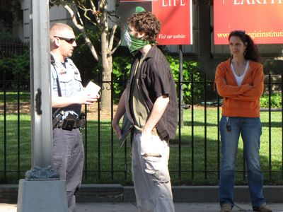This time, they zeroed in on one of our Anons who was handing out flyers on the corner. The cops stopped him, took down his ID, and asked him a few questions before determining that the complaint had no merit.