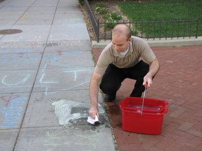 Then meanwhile, witness the fail that was the Scientologists' latest attempt to remove our chalkings from the sidewalk during our raid.