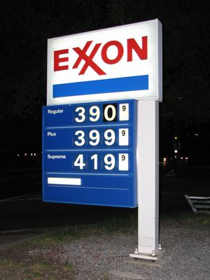 Gas prices at the Watergate Exxon.