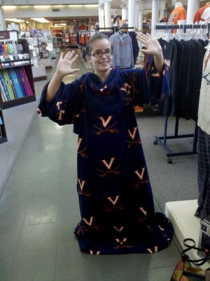 Bergit models the UVA Snuggie