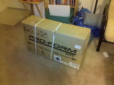 The exercise bike, still boxed up (but in the house!)