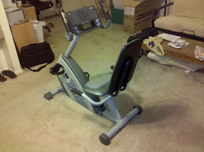 The exercise bike, fully assembled
