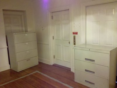 In wandering around, I noticed that Scientology used large file cabinets to block off any rooms that they didn't want you going into, such as this on the second floor.