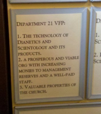 """Department 21's VFP was Scientology's tech and its """"products"""", and an Org that makes an increasing amount of money to send to management. Oh, how religious and non-profit of them. That doesn't sound like a for-profit company at all, does it?"""