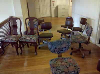 And lastly, here's another shot of those lovely floral-pattern chairs.