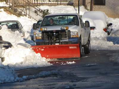 Lester's truck, with snow plow attached