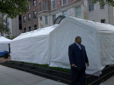 Scientology tents and tarps in front of their building
