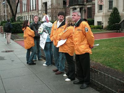 "Then the Scientologists were out in force again this month, this time sporting their ""Volunteer Minister"" jackets."