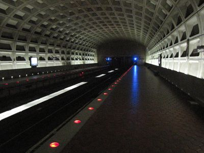 Clarendon wins the darkest-station award for the day. Seriously, a LOT of the center lights were out, and those that were working were really dim.