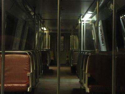 Darkened interior of the locked-off CAF 5087 at Vienna.