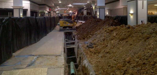 Digging up the floor at Staunton Mall