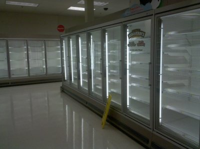 Empty freezers at Target in Wheaton