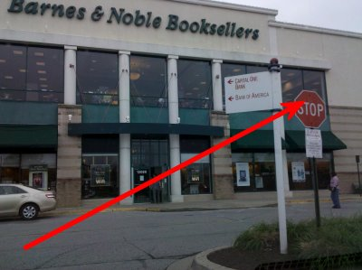 Arrow pointing at my perch at Barnes and Noble