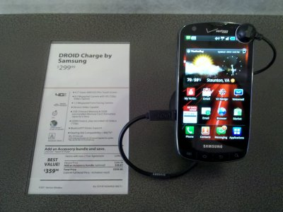 Then after coffee, Mom and I went to the Verizon store in Staunton and did my cell phone upgrade. I now have a Droid Charge by Samsung. This is a much better phone than the old one, though I'm still figuring out what everything does.