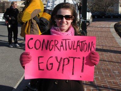 Code Pink at the Egypt celebration demonstration