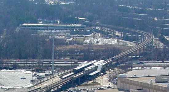 Eisenhower Avenue and Huntington stations as seen from the George Washington Masonic National Memorial
